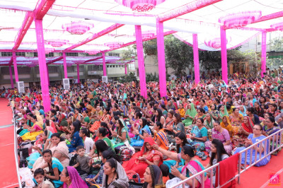 Thousands of disciples from around the world enjoy the celebrations of the first day of the grand five day festival