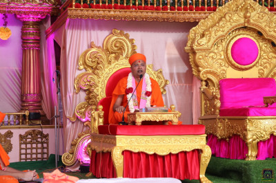 Sants perform the scripture recital of Shree Swaminarayan Gadi Granth
