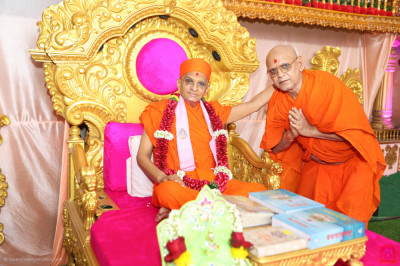 His Divine Holiness Acharya Swamishree blesses the sant