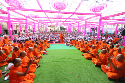 Divine darshan of Acharya Swamishree Maharaj at the conclusion of the Maha Poojan ceremony