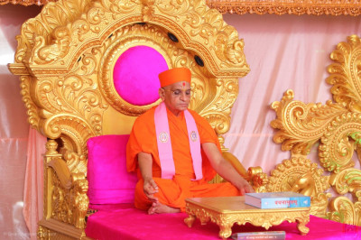 Divine darshan of His Divine Holiness Acharya Swamishree Maharaj performing dhyaan