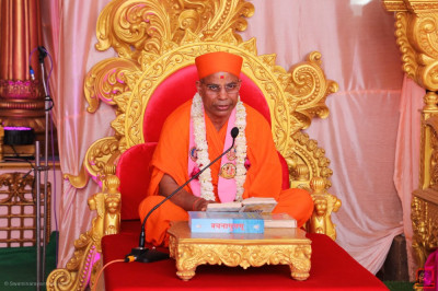 Sants perform the recital of the divine scripture 'Shree Swaminarayan Gadi Granth'
