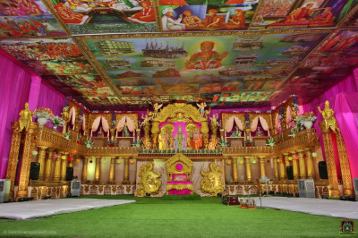 Divine darshan of the magnificent golden grand stage including the wonderful ceiling art