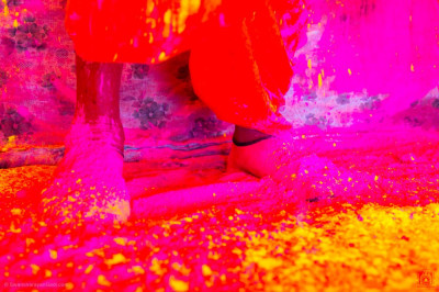 The divine lotus feet of Acharya Swamishree Maharaj bathed in pink, red and yellow