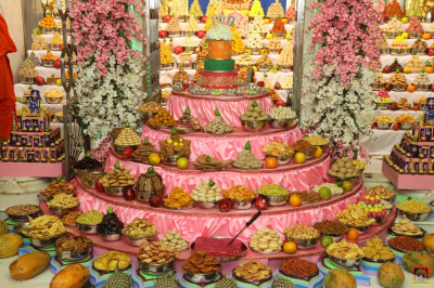 The magnificent grand annakut of sweet and savoury items offered to the Lord