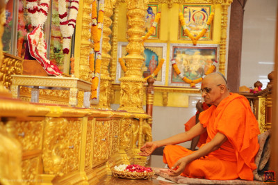 His Divine Holiness Acharya Swamishree Maharaj performs the anniversary poojan