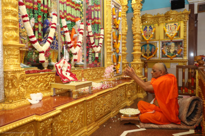 His Divine Holiness Acharya Swamishree Maharaj showers flower petals at the lotus feet of the Lord