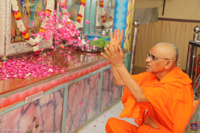His Divine Holiness Acharya Swamishree Maharaj showers fresh flower petals at the divine lotus feet of the Lord