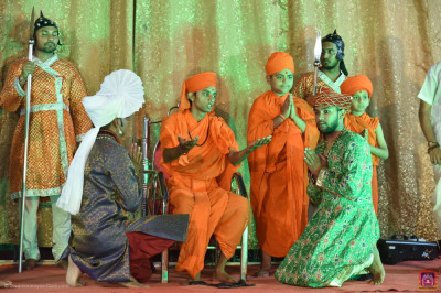 Disciples perform a devotional drama to please Lord Shree Swaminarayanbapa Swamibapa