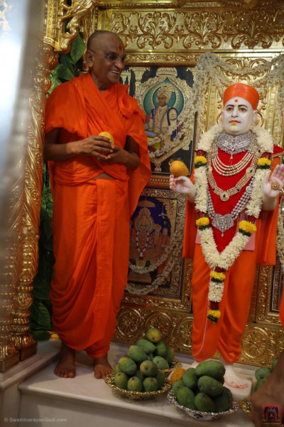Divine darshan of Jeevanpran Shree Muktajeevan Swamibapa with His Divine Holiness Acharya Swamishree Maharaj