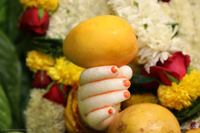 Divine darshan of Lord Shree Swaminarayan holding a mango