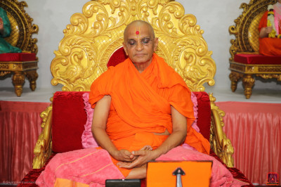 Divine darshan of His Divine Holiness Acharya Swamishree Maharaj performing dhyan