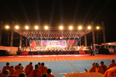 The view of the stage from Acharya Swamishree Maharaj's gadi