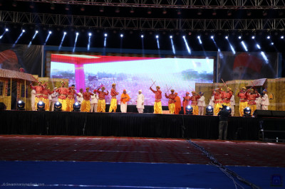 The full view of the stage as disciples perform during the evening devotional programme