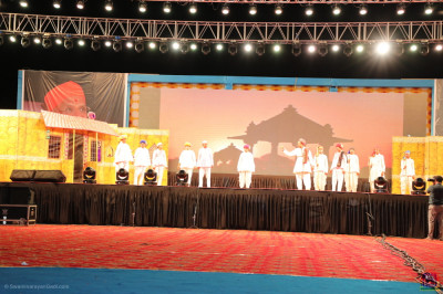 The view of the stage as disciples perform the emotional devotional drama