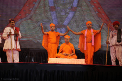 Sants and disciples perform in the devotional drama to please Lord Shree Swaminarayanbapa Swamibapa and His Divine Holiness Acharya Swamishree Maharaj