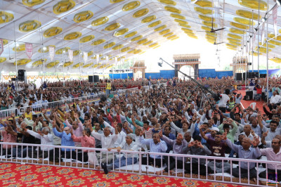 Thousands of disciples from around the world gather and enjoy the celebrations