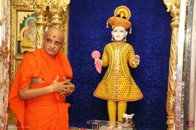 Divine darshan of His Divine Holiness Acharya Swamishree Maharaj with Lord Shree Swaminarayan