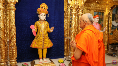 Divine darshan of Acharya Swamishree Maharaj praying to Lord Shree Swaminarayan