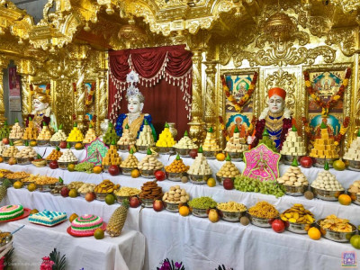 Divine darshan of Lord Shree Swaminarayanbapa Swamibapa dining on the magnificent annakut