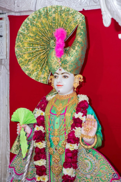 Shree Ghanshyam Maharaj gives darshan in Kadi