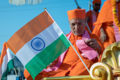Flag of India waves on the chariot