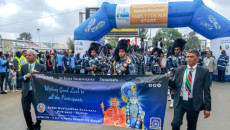 Shree Muktajeevan Swamibapa Pipeband – Nairobi at the 15th edition of the Standard Chartered Marathon.